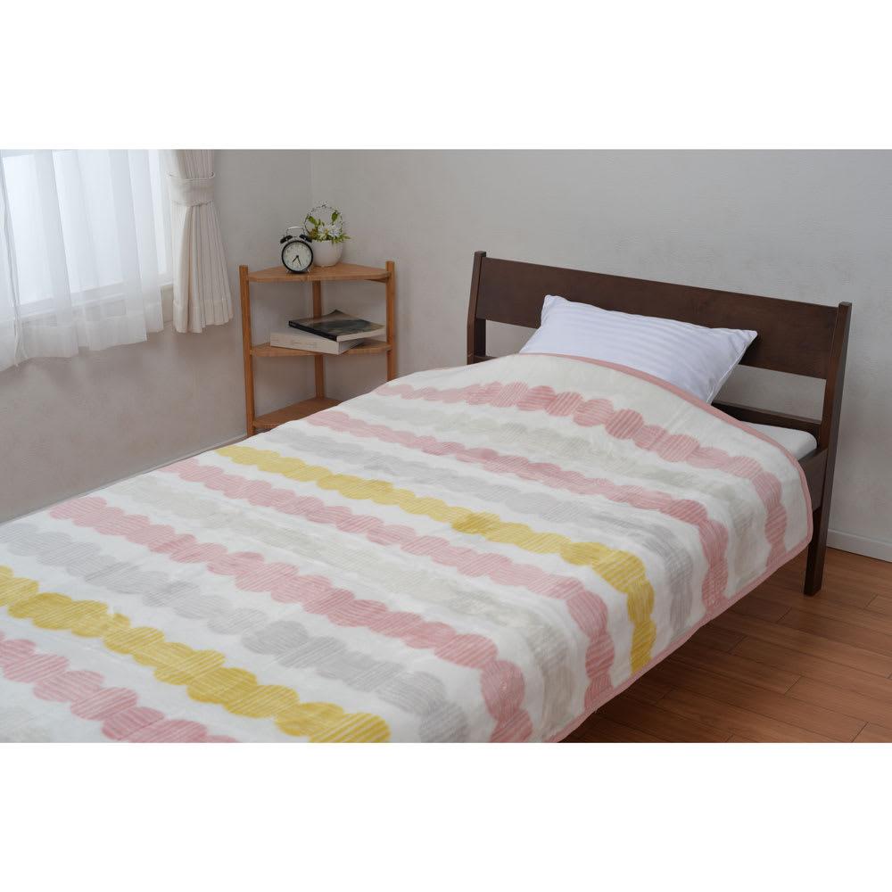 西川京都/日本製一重毛布 まるつなぎ柄 (ア)ピンク