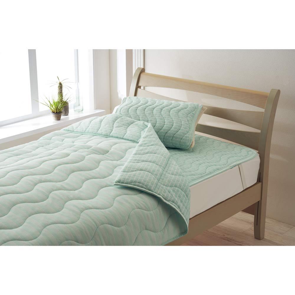 「ファブリーズ」ライセンス寝具/消臭抗菌 西川両面仕様敷きパッド FB0403柄 (ア)ターコイズ ※敷きパッドのみの販売です