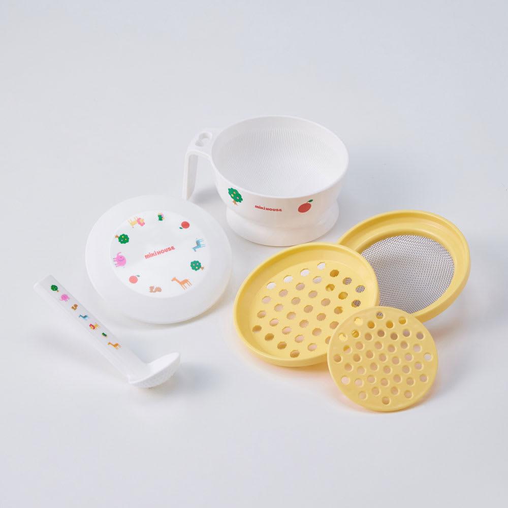 miki HOUSE(ミキハウス)/ベビーフードセット おろし器、こし網、蒸しプレート、すり鉢、スプーンのセット
