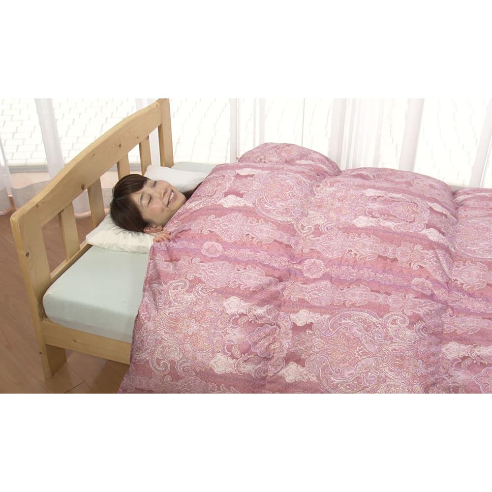 柄任せ お得な掛け・敷きセット(ダブル) 4つ星ランクの高品質羽毛布団だから、とにかくフカフカで暖かい!