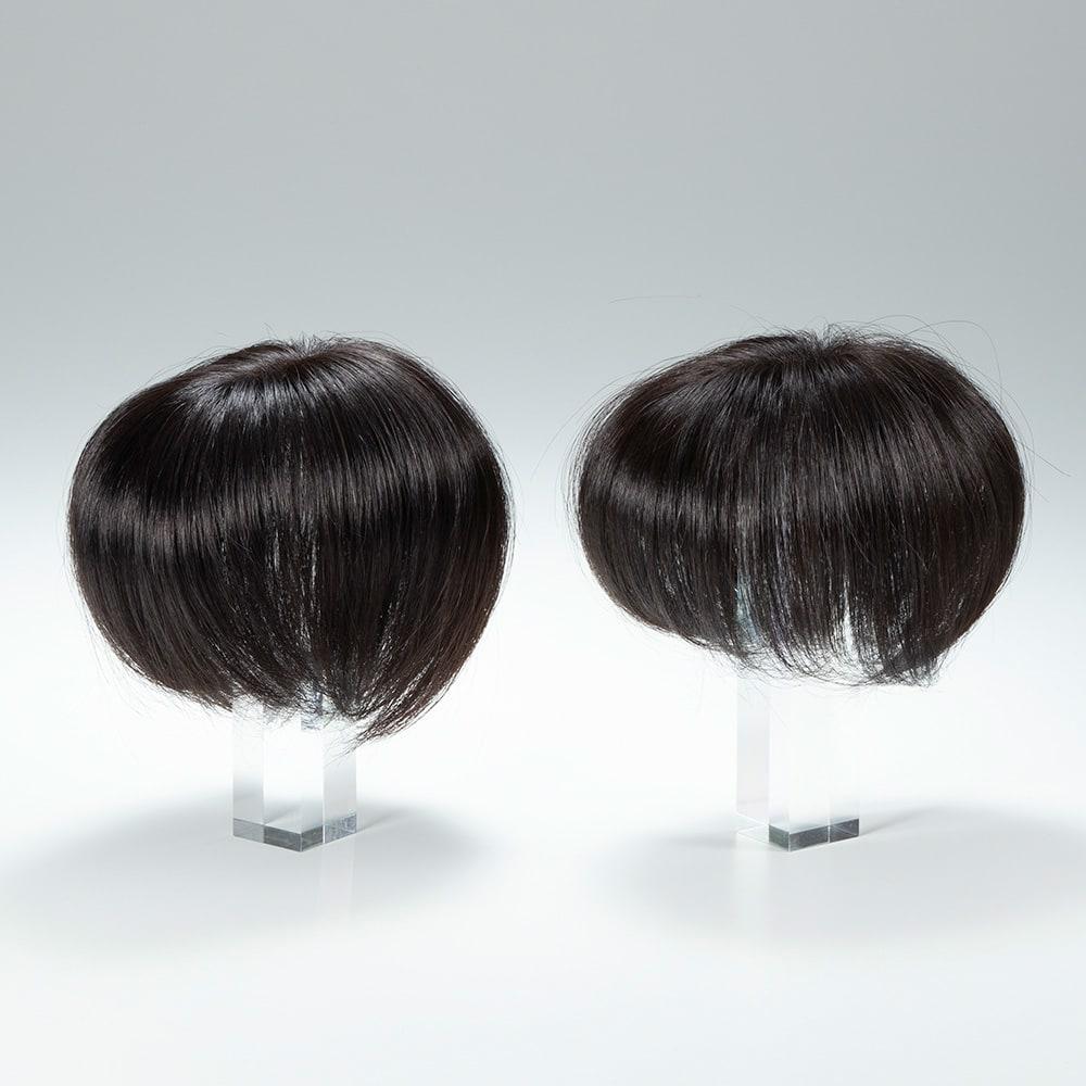 人毛100%ウィッグ プレミアム(部分タイプ) 左/最新作(本品) 右/従来品  毛量20%アップ!ボリュームが違います。※ウィッグは自然色