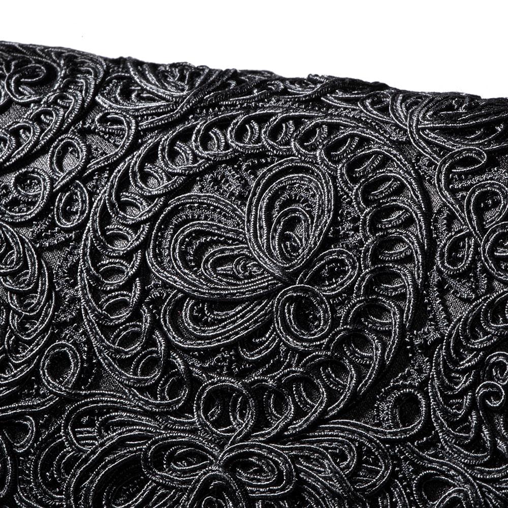 岩佐 コード刺しゅうフォーマルソフトバッグ かぶせ部分に立体感なコード刺しゅうをたっぷりあしらいました。品格のある美しいデザインです。