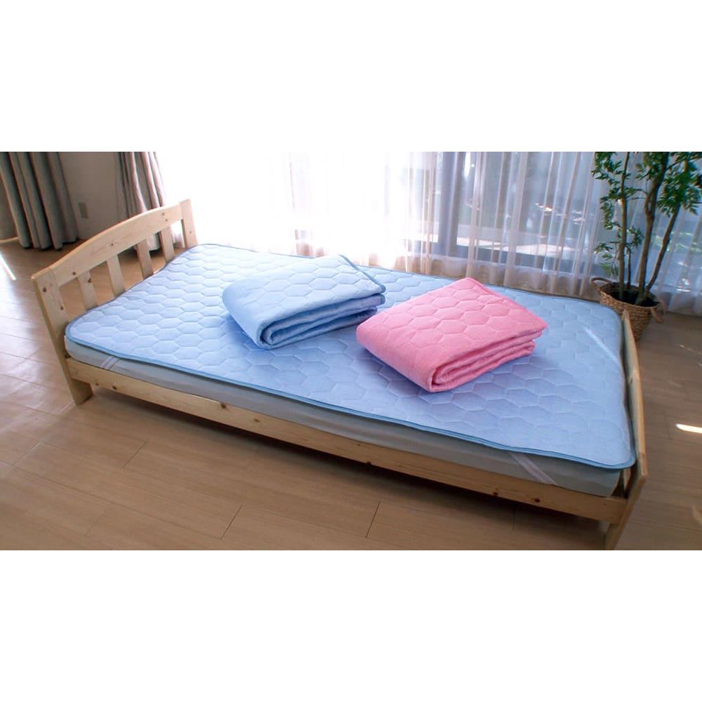 ひんやり除湿寝具 デオアイス 敷きパッドNEO(セミダブル) (ア)ブルー (イ)ピンク