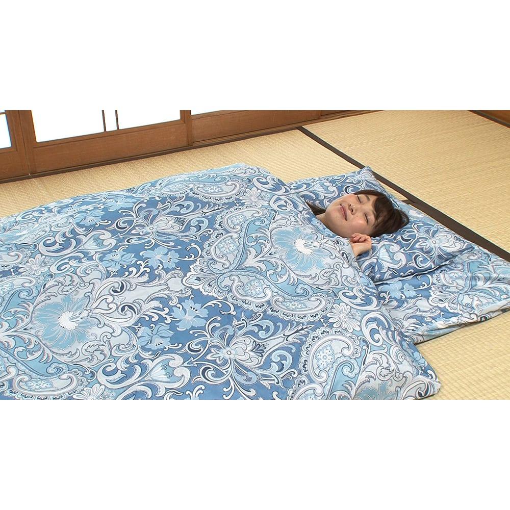 西川 夏のバーゲン寝具セット(シングル6点)・通常お届け 6点フルセット(イ)ブルー