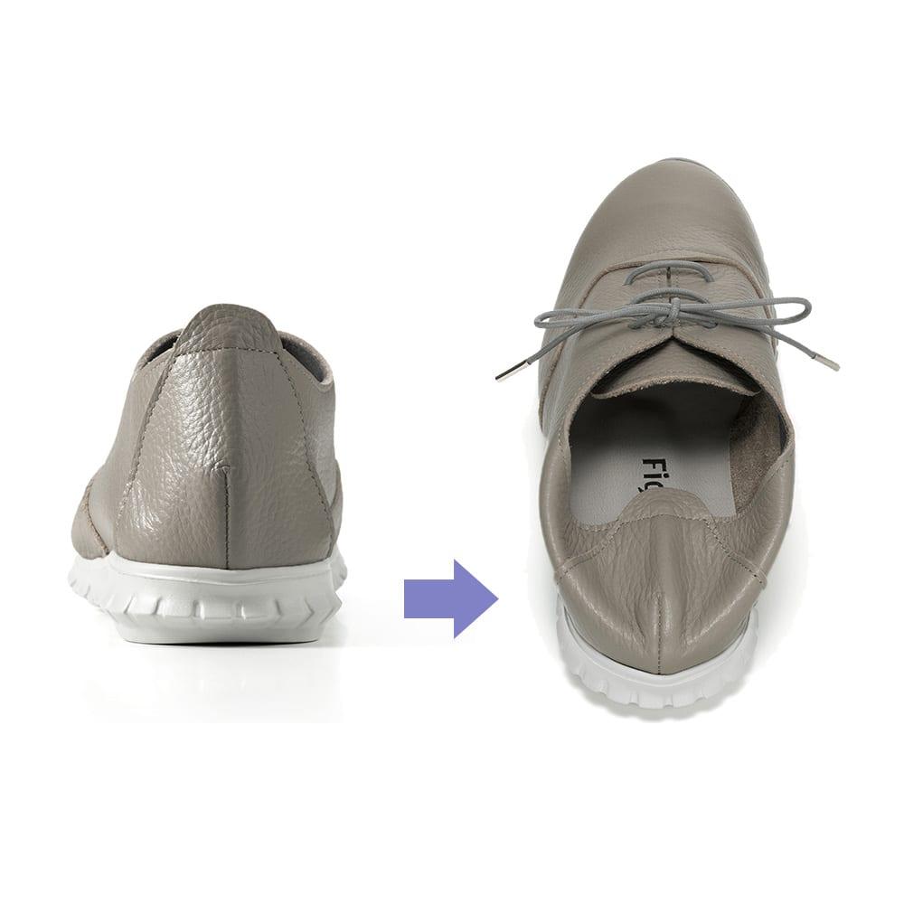 レザースニーカー フィグリーノ かかとの後ろ部分にも硬い素材が入っていないので、当たりが柔らかく、靴ズレしにくい。