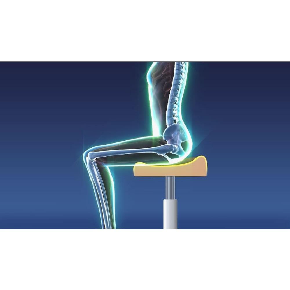 ミズノ スクワットスリール 座面に絶妙な角度の傾斜をつけることで、座ると骨盤が立ち背筋が伸びた姿勢に!自然と良い姿勢でスクワットができます。