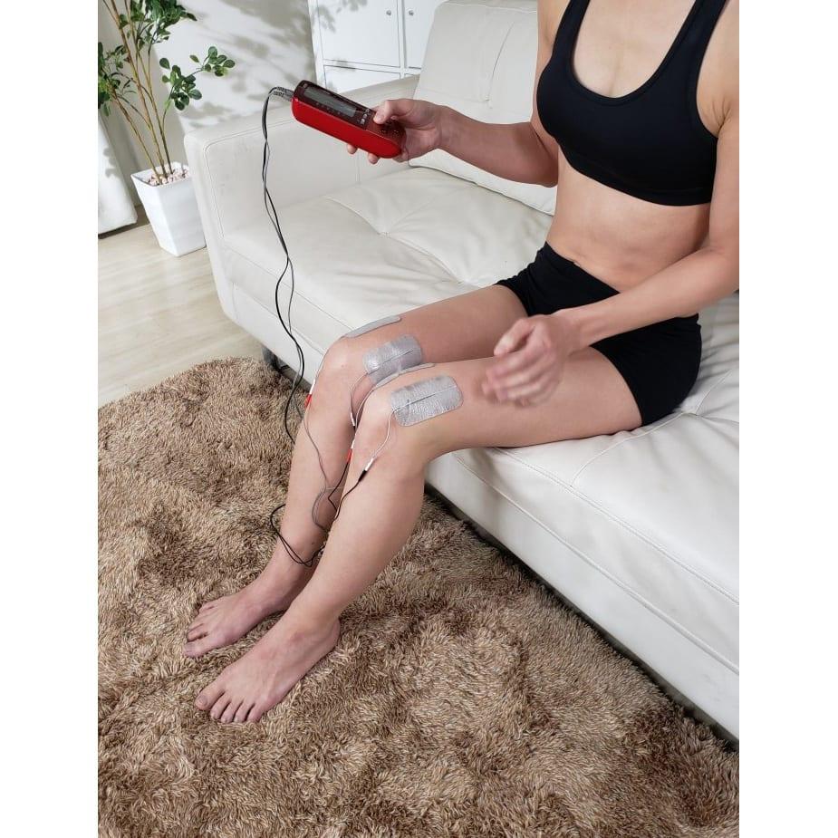 シェイプビート7 Body&Face ●使用例:気になるひざ上の筋肉もピンポイントで。パワフルだから太ももの広範囲を一気に刺激できます