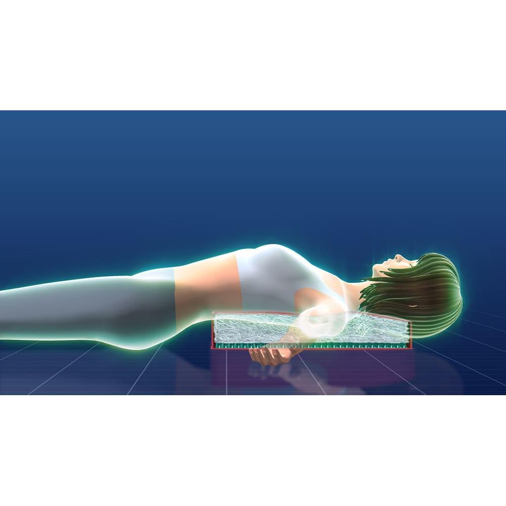パーフェクトエクサ(R) 【裏面(soft)】に寝ると白い素材の柔らかめな反発力が体にフィット
