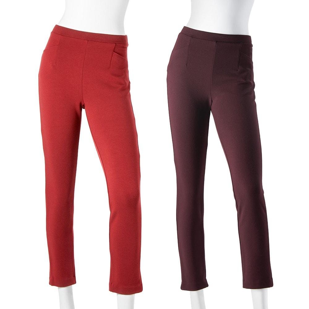ARIKI あったか大人パンツ WEB限定色 (オ)ガーネット… 華やかなのに上品!暗くなりがちな冬の装いのアクセントカラーにぴったり。 (カ)ボルドー… エレガントでウォーミー!優雅な女性らしい色味が 秋冬に映えます。