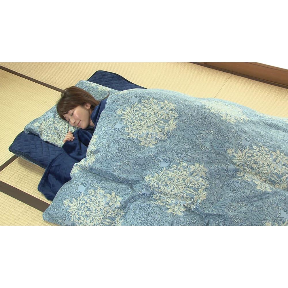 新春初売り 西川の特選寝具 ダブルセット(8点+特典2点付き) (イ)ブルー(※画像はシングルです。)