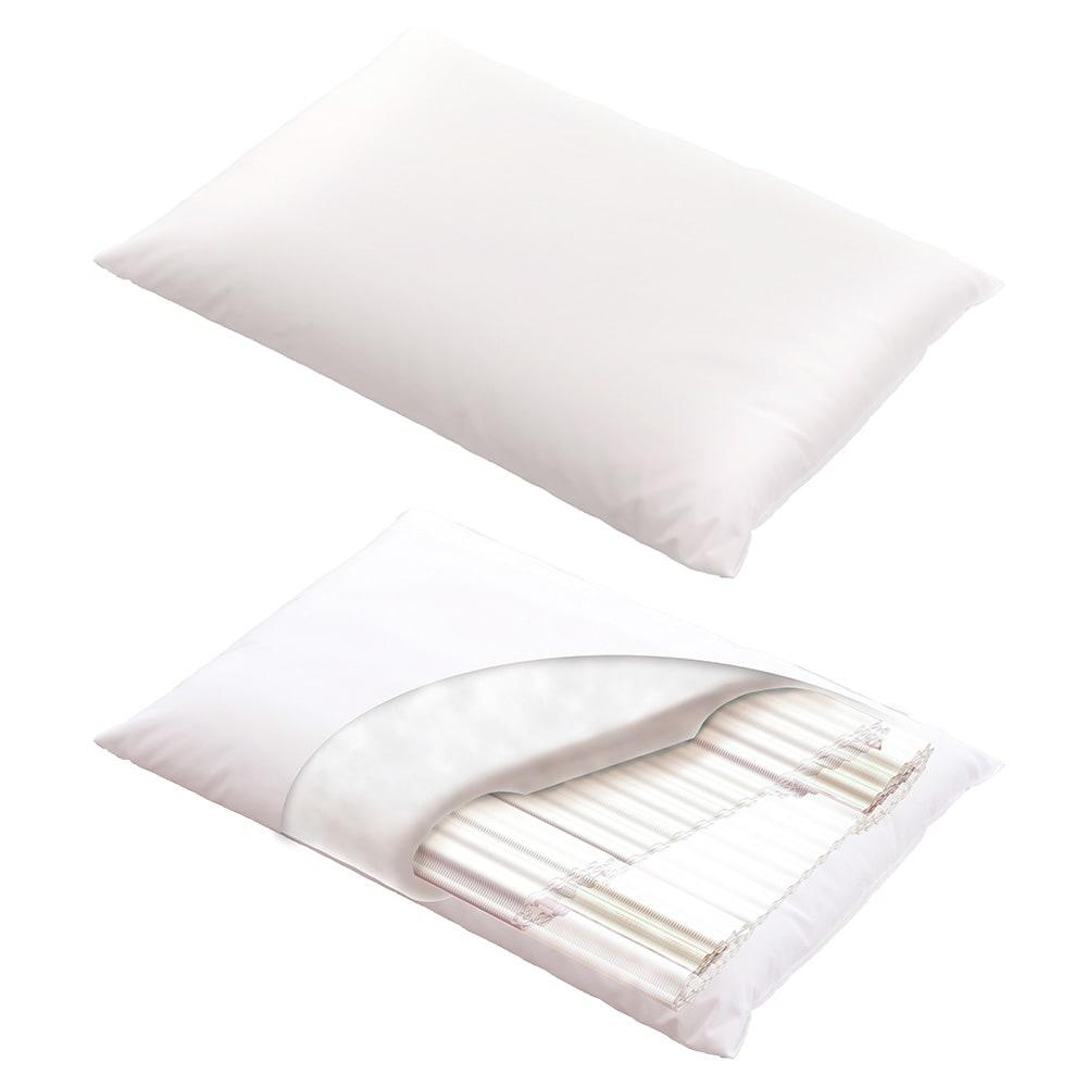 リラックスフィット枕 しなやかな弾力性を持つ「エアトラス」の中芯を、制菌わたで包んだ独自構造。