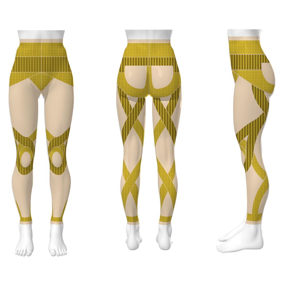 レッグアゲイン スパッツ メンズ 太もも裏に特許構造のクロスラインを配置。脚を上げるたびに太ももに負荷をかけ、歩くことで下半身の筋肉を鍛えられる。脚が上がると太ももだけでなく、お腹、お尻の筋肉も使えるように。(特許:第6443765号)