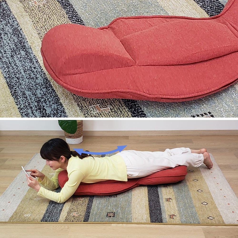 スリム座椅子 ピラトレ 地味にかなり凄いのが、効果的な背筋運動が楽にできちゃう!普段丸まった背すじをしなる様に反ることができます。床の上で同じ様に行うのはかなり大変…
