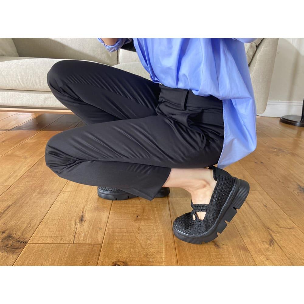 GOMUGOMU/ゴムゴム クロスシューズ 屈曲性の高い靴底で、厚底なのにパカパカしにくい!足の動きにぴったりフィットします