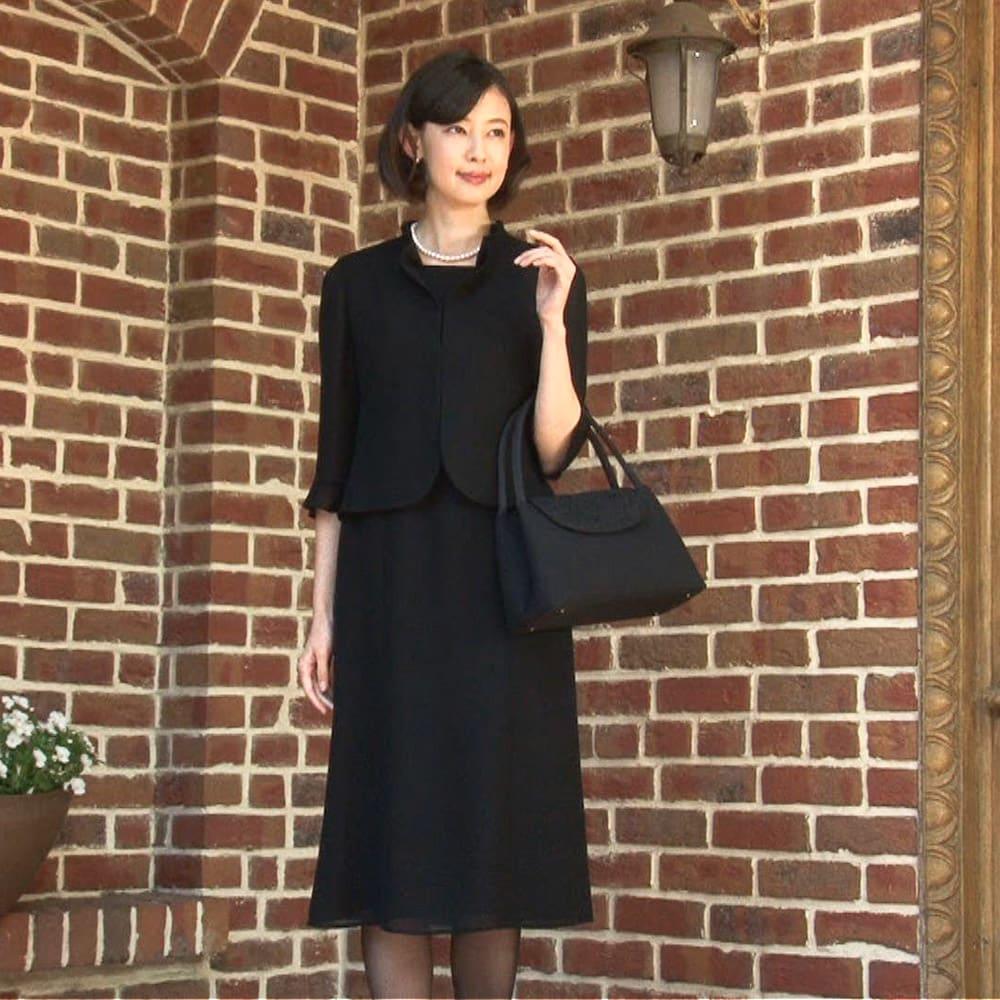 東京ソワール ブラックフォーマル アンサンブル風ワンピース 夏用