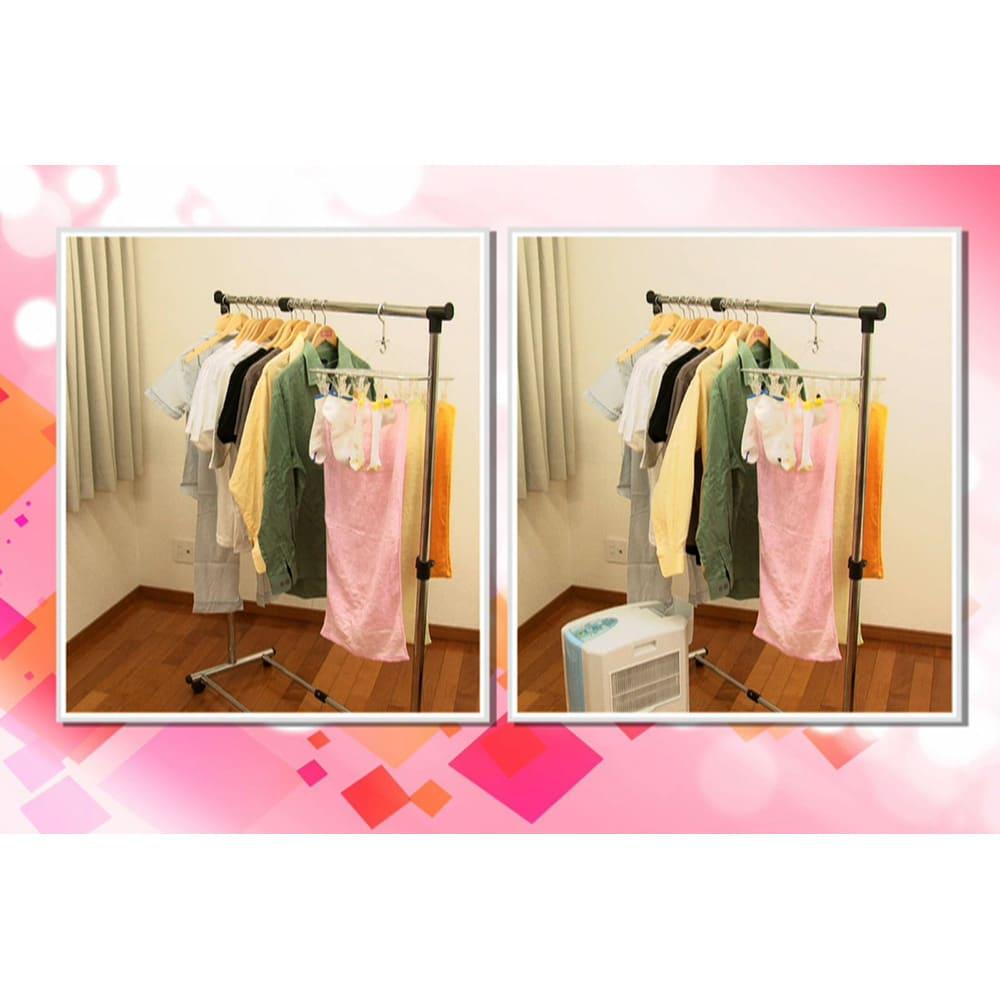 冷風衣類乾燥除湿機 実験では、自然乾燥だと乾燥に26時間かかった洗濯物(約2kg)が、なんと約2時間で乾きました。※メーカー調べ ※日本電機工業会自主基準(JEMA-HD090:2017)に基づいた試験結果
