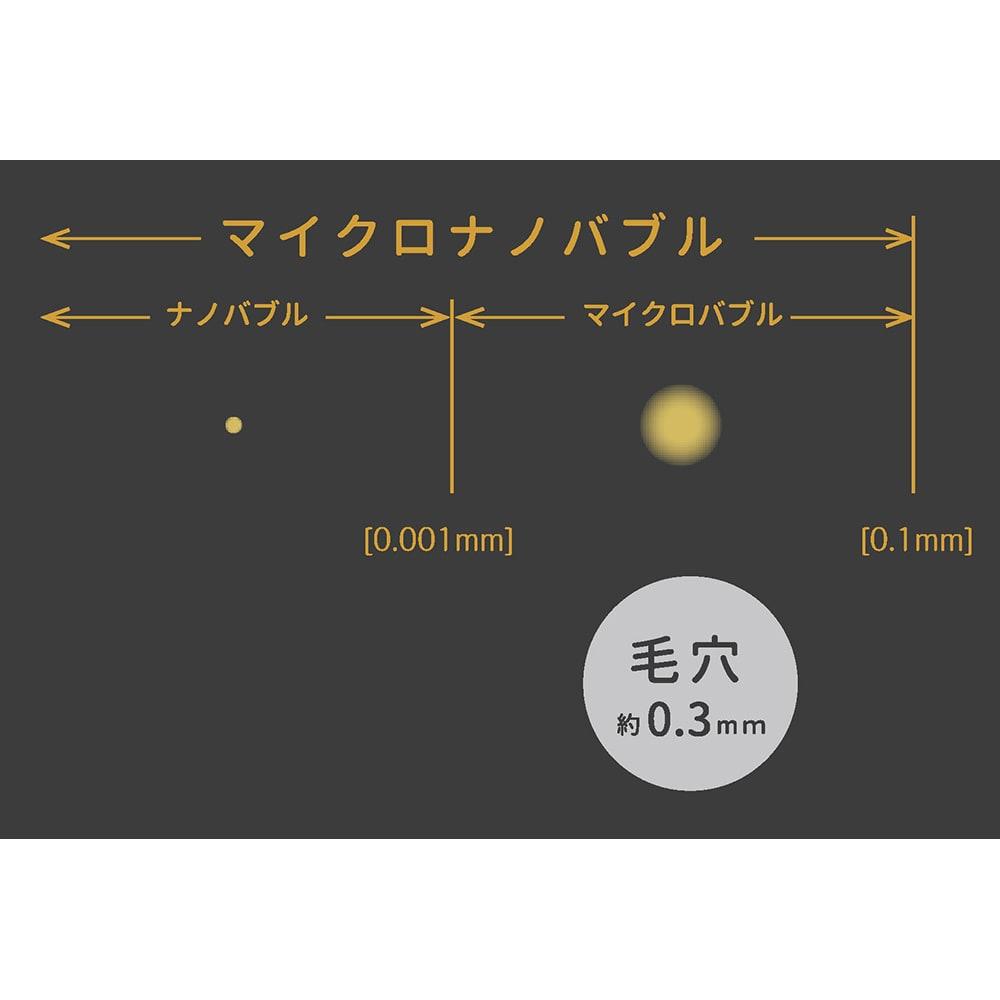 キッチン用 プレミアムアダプター マイクロバブルは泡の直径が0.1mm~0.001mm。ナノバブルは泡の気泡が0.001mm以下。この2つのバブルをあわせたものがマイクロナノバブルです