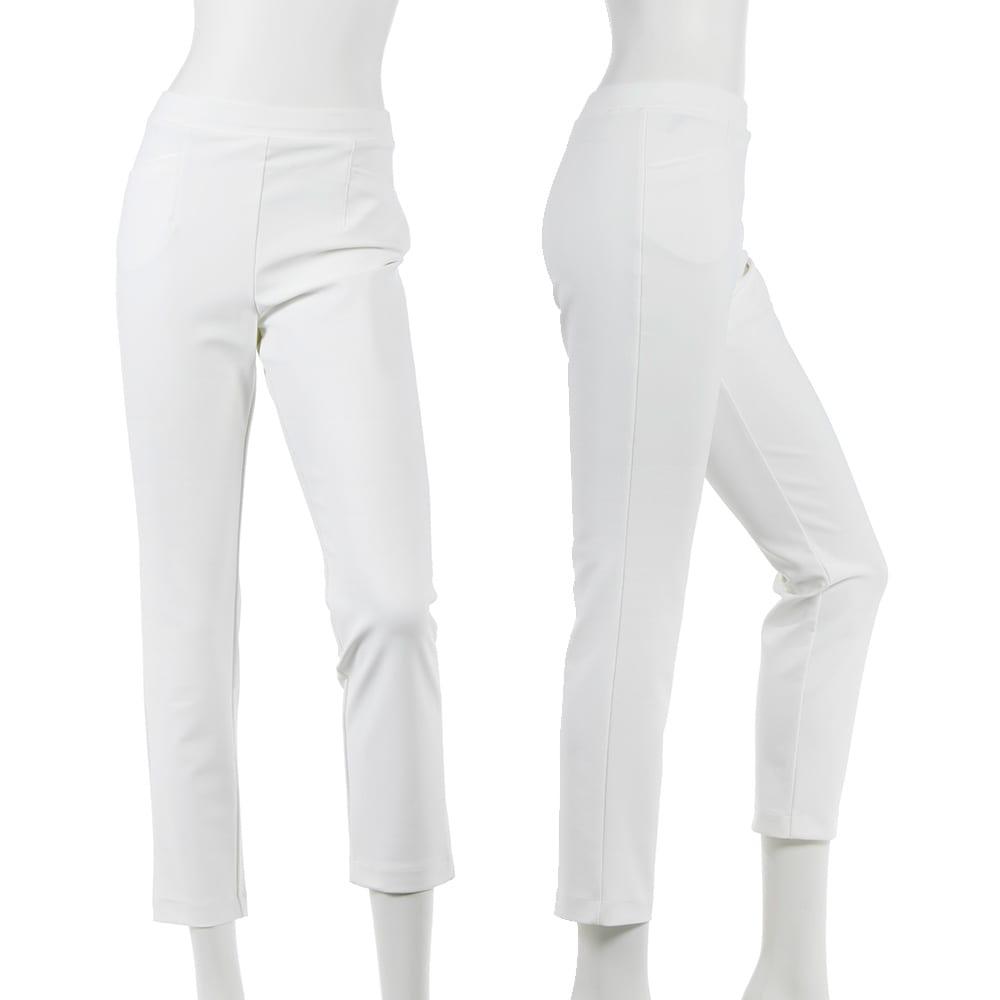 ARIKI 大人フィットパンツ (イ)オフホワイト…この時期1本は欲しい白系パンツ。落ち着いた白だから大人の女性におすすめです。透けにくいのもうれしい。