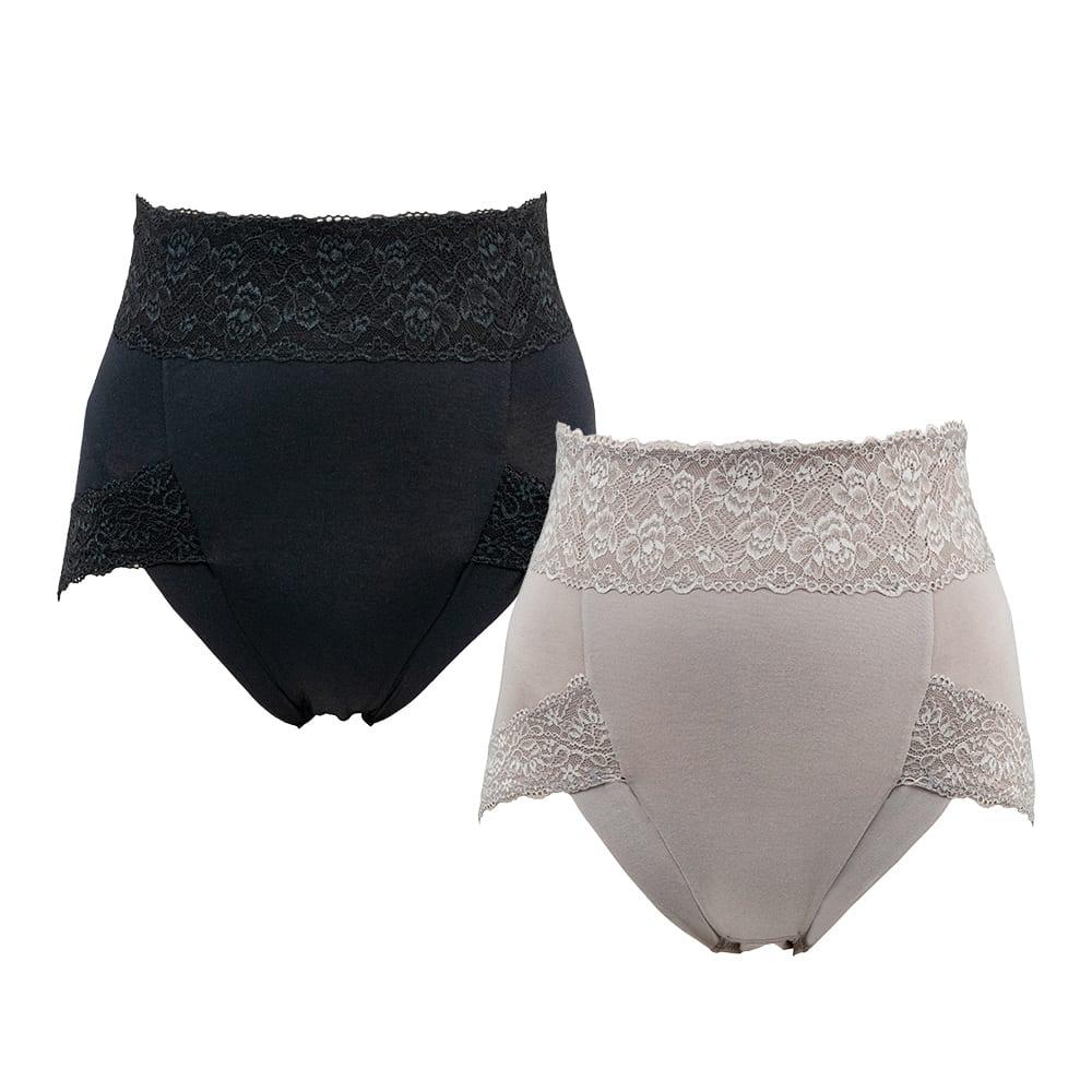 BRADELIS NewYork/ブラデリスニューヨーク 綿混すっきりショーツ 色・サイズが選べるお得な2枚セット (ア)ブラック (イ)グレージュ  穿き込みの深さにこだわった ブラデリスNYの オリジナルパターンを採用したショーツ!