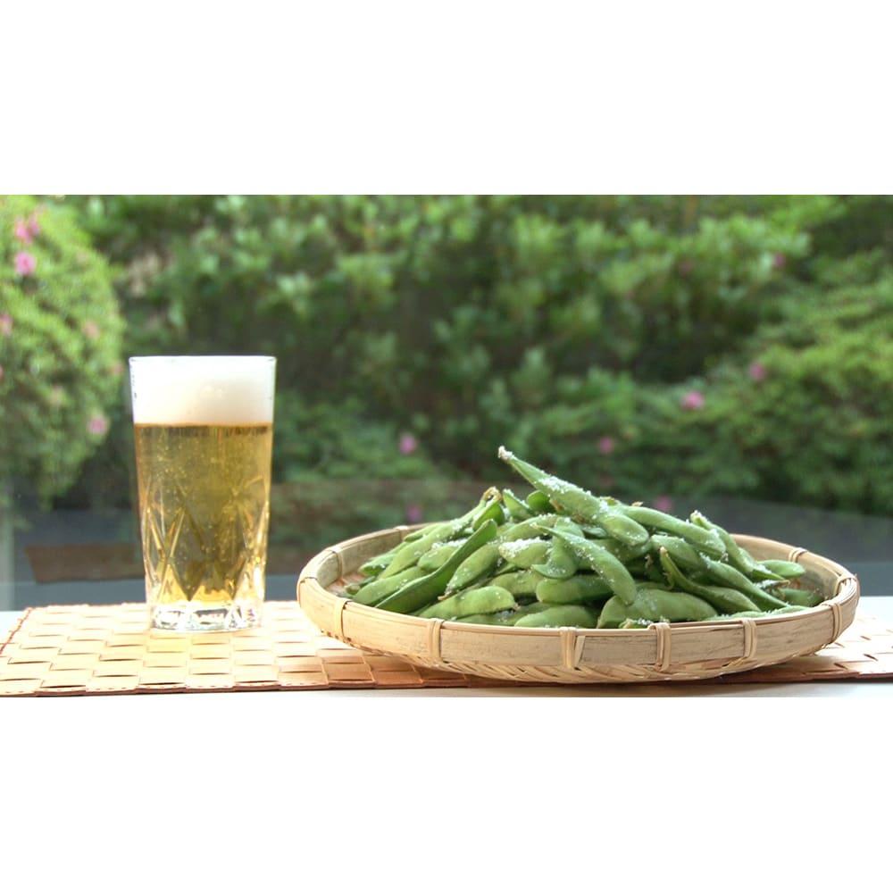 MEYER/マイヤー 電子レンジ圧力鍋 ★枝豆…季節の生枝豆も水と一緒に600Wで5分。2分蒸らせば完成!