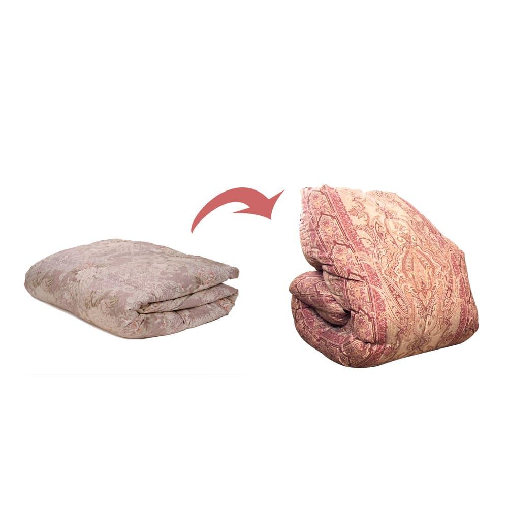 羽毛布団のフルリフォーム(セミダブル) リフォーム前→リフォーム後