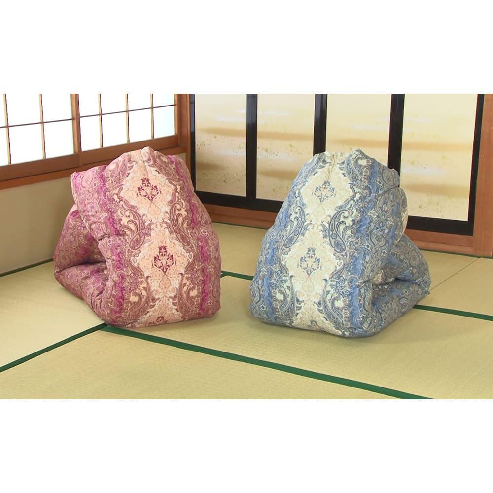 羽毛布団のフルリフォーム(クイーン) 柄はお任せになりますが、色は(ア)暖色系と(イ)寒色系からお選びいただけます。※写真は柄の一例です