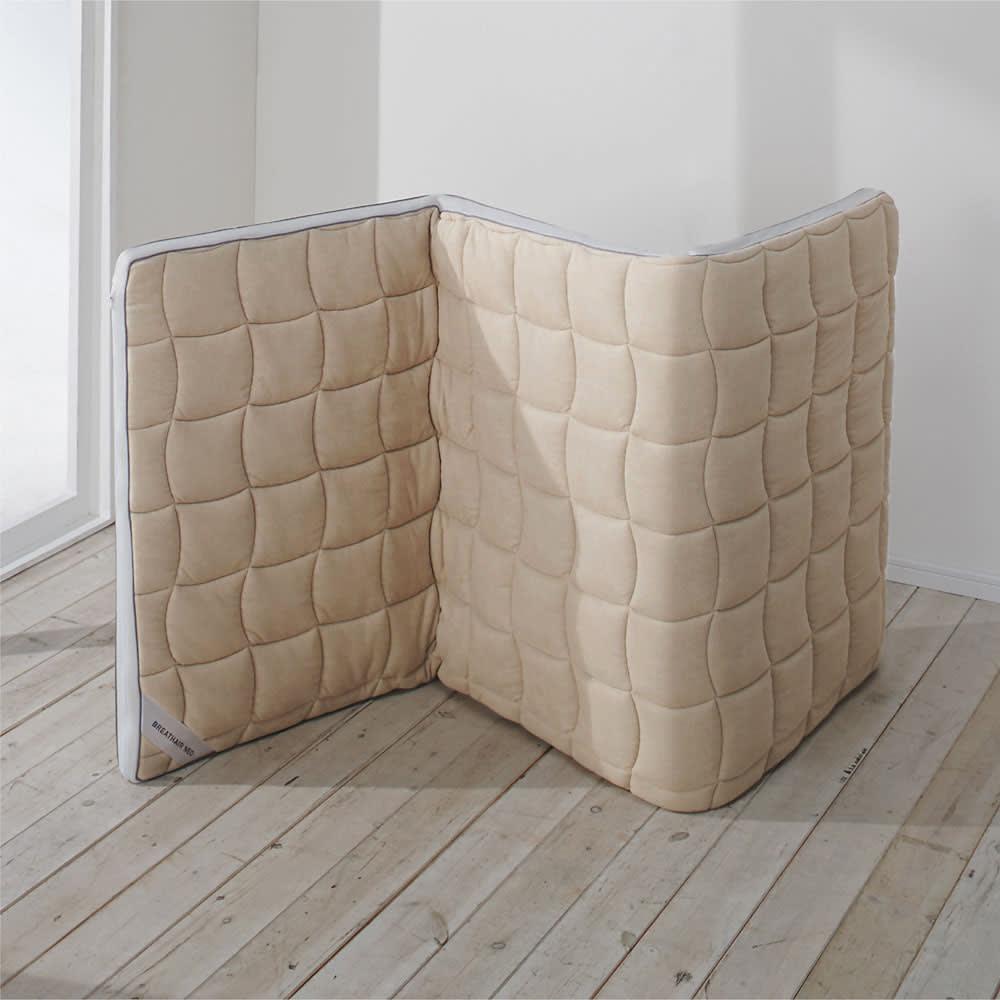 ブレスエアー(R)敷布団NEO(シングル) 部屋の中で立て掛けておくと湿気が抜けて簡単ケア。外に干さなくても大丈夫。