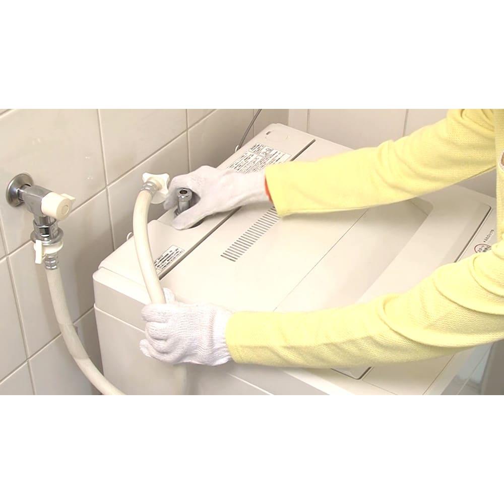 洗濯機プレミアムアダプター 工事不要!簡単に取り付けられます。※取り付けの際には必ずゴム手袋や軍手をして作業してください。