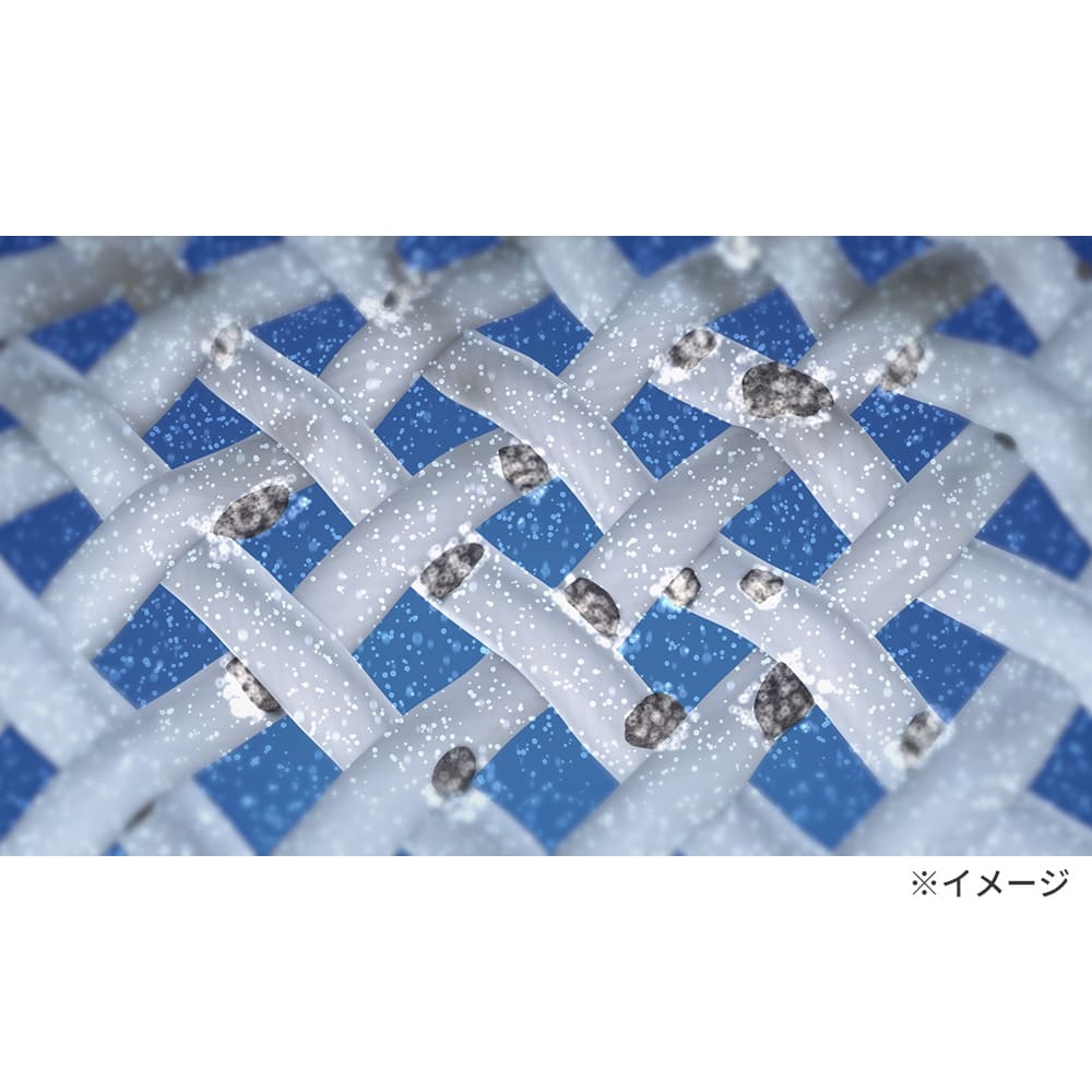洗濯機プレミアムアダプター マイクロナノバブルが繊維の隙間に入り込み、汚れを浮かび上がらせて落とします。
