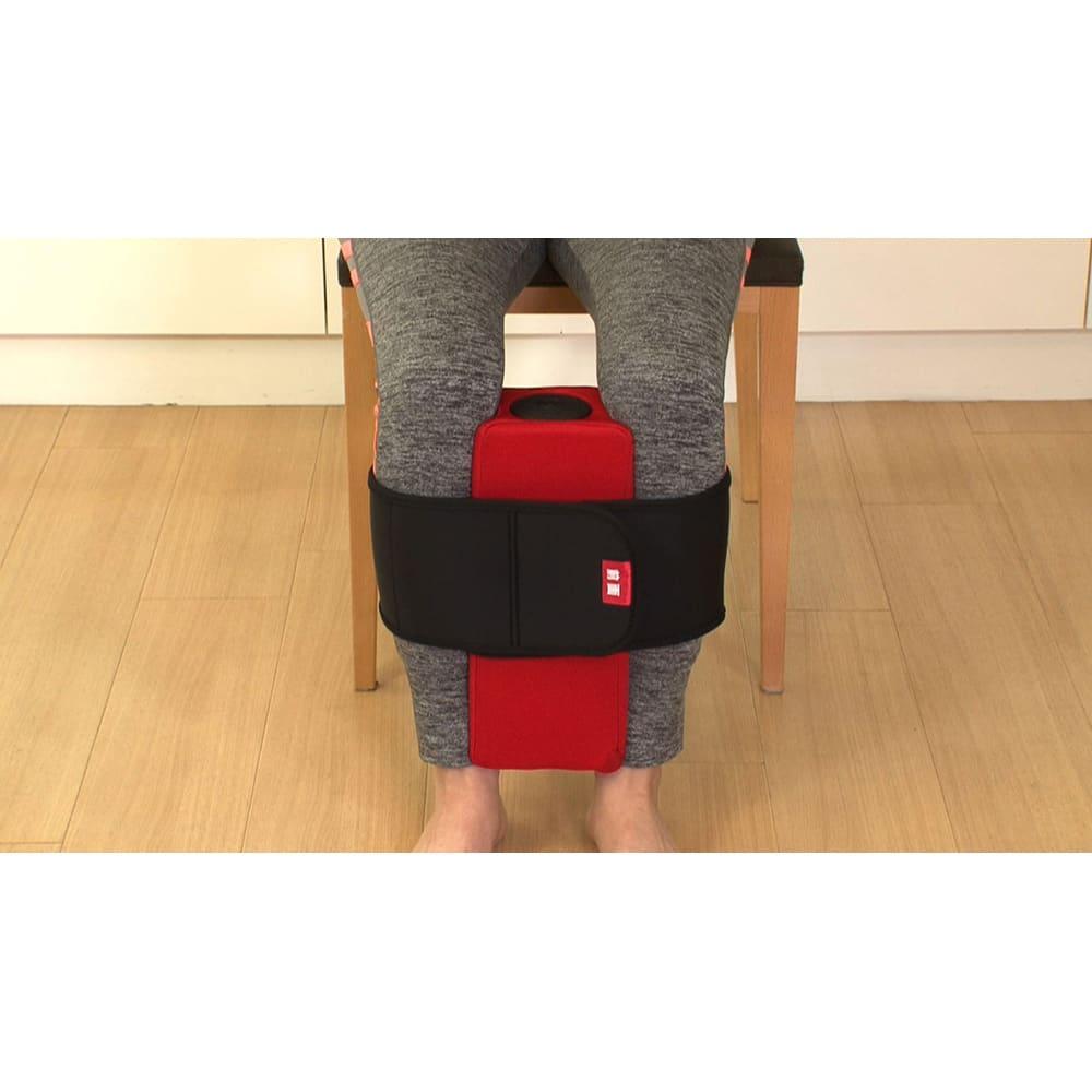 ジェットスリムボディ ●サポートバンドの使い方:ふくらはぎに挟んだ状態で、脚の裏側から回し、面テープで留めてください。(※きつく締めすぎないよう注意しましょう。)