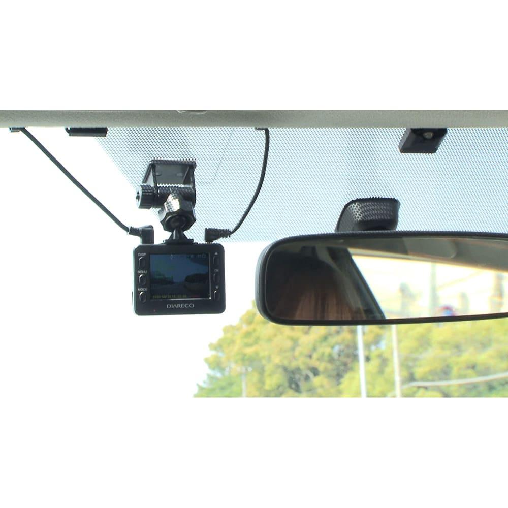 後方カメラ付きドライブレコーダー <前方カメラ> コンパクトだから視界の妨げになる心配もない!液晶モニター付きなのも便利!事故の際も、その場で映像を確認できます。
