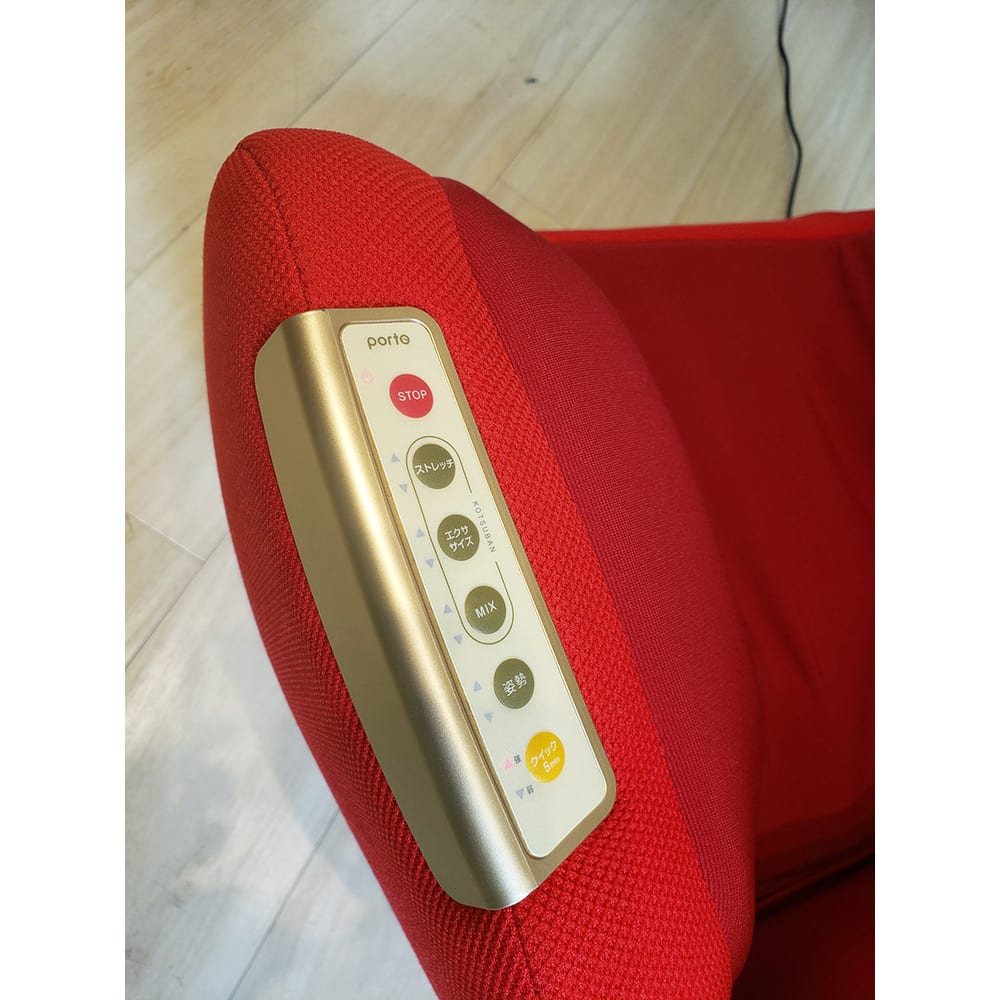 エアリーツイストボディ 【操作部】 ○自動コース選択ボタン…全5つの自動コースから選択するだけ。○強さ調節…エアーの強さは2段階(強・弱)に調節可能。○電源ランプ…ACアダプターを接続するとランプが点灯します。