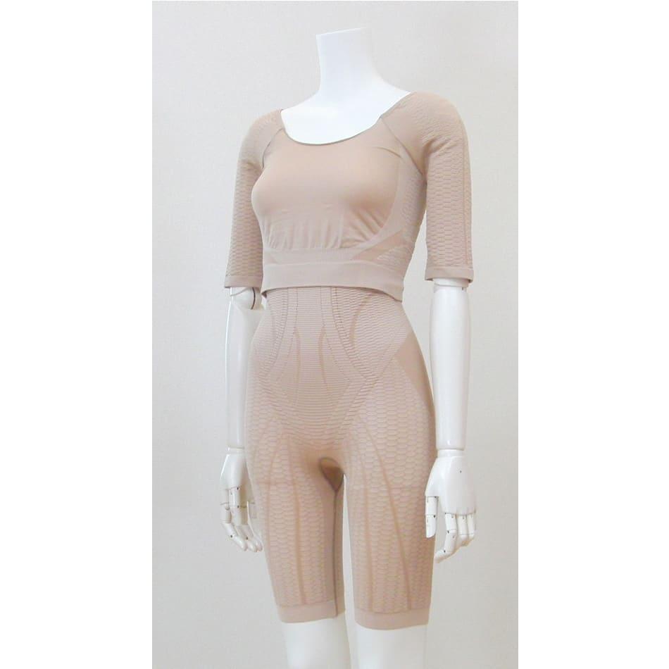 セルスルーエステ 5分袖+ガードルセット(上下同色同サイズ) (イ)モカベージュ…アウターの色を選ばない 上品なモカベージュ。