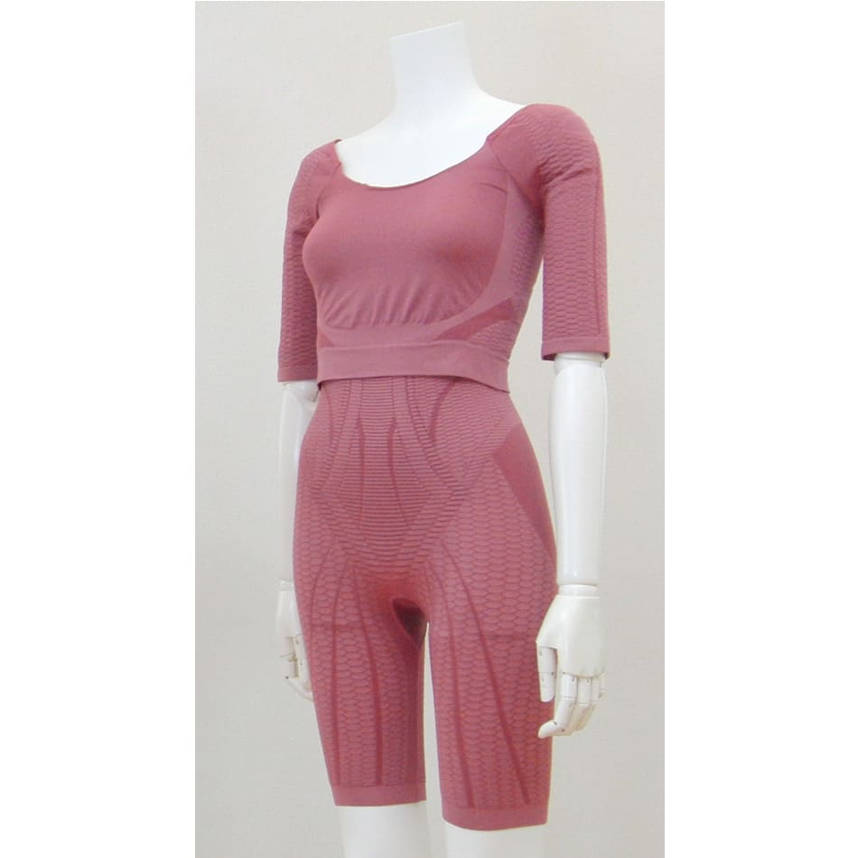セルスルーエステ 5分袖+ガードルセット(上下同色同サイズ) (ウ)ローズピンク…大人の女性が可愛く着られる、落ち着いたピンク。