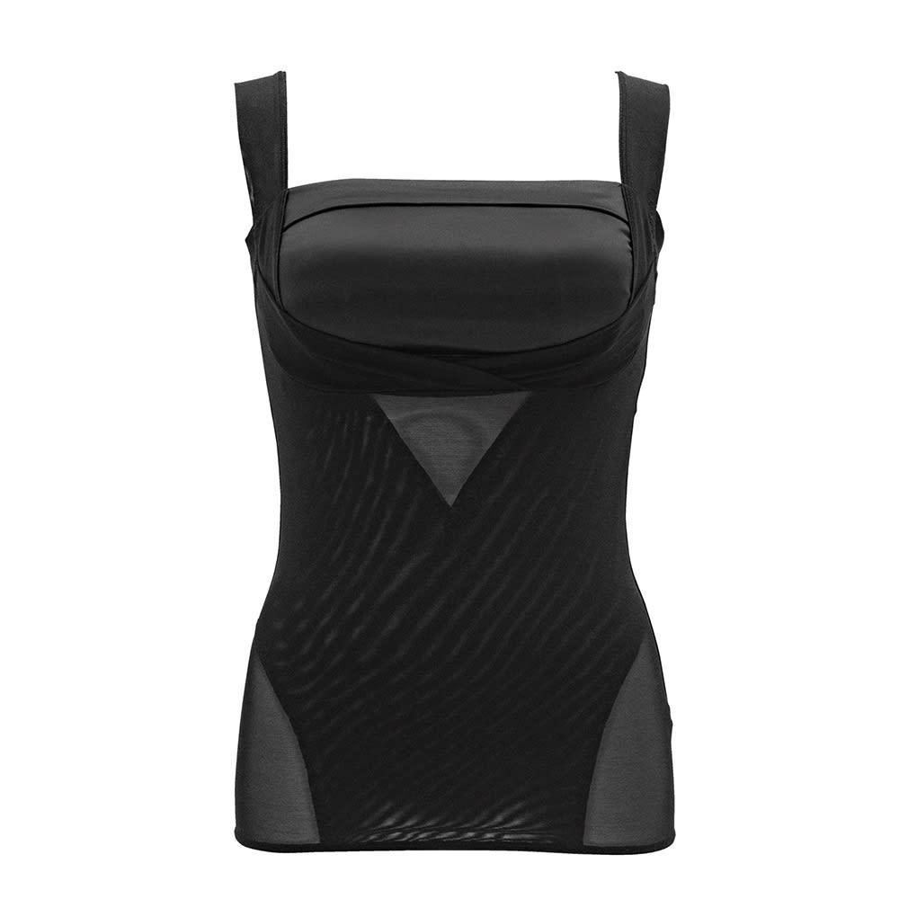 【旧モデル】BRADELIS NewYork/ブラデリスニューヨーク バストアップシェイパーブラキャミ (エ)サテン ブラック…サテンのブラックはカジュアルな装いにもマッチ。シャツから見えてもおしゃれです。