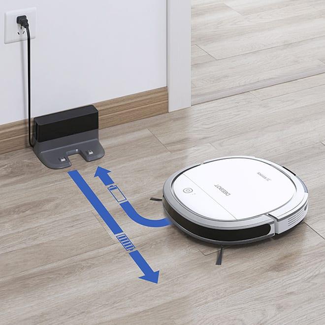 エコバックス ロボット掃除機アクアブレス 自動充電 充電がなくなったら自動で戻ります。