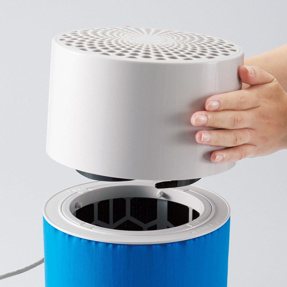 ブルーエア 空気清浄機 シンプル構造だから面倒なお手入れは必要ありません。メインフィルターは1日24時間つけっぱなしで、交換目安は約6カ月。
