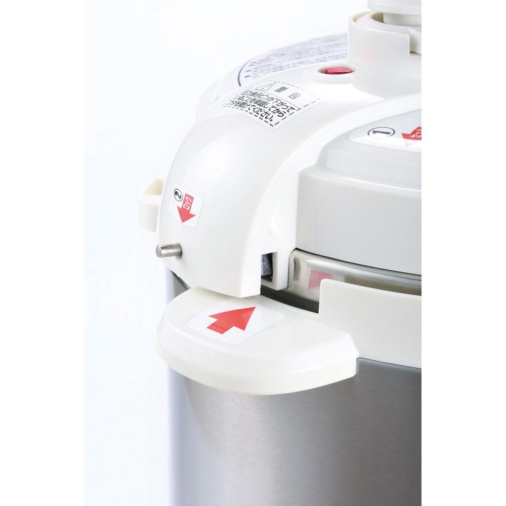 コンパクト電気圧力鍋 4.0L ガラスふた付き キチンとフタが閉まっていないと圧がかからない安全構造です!