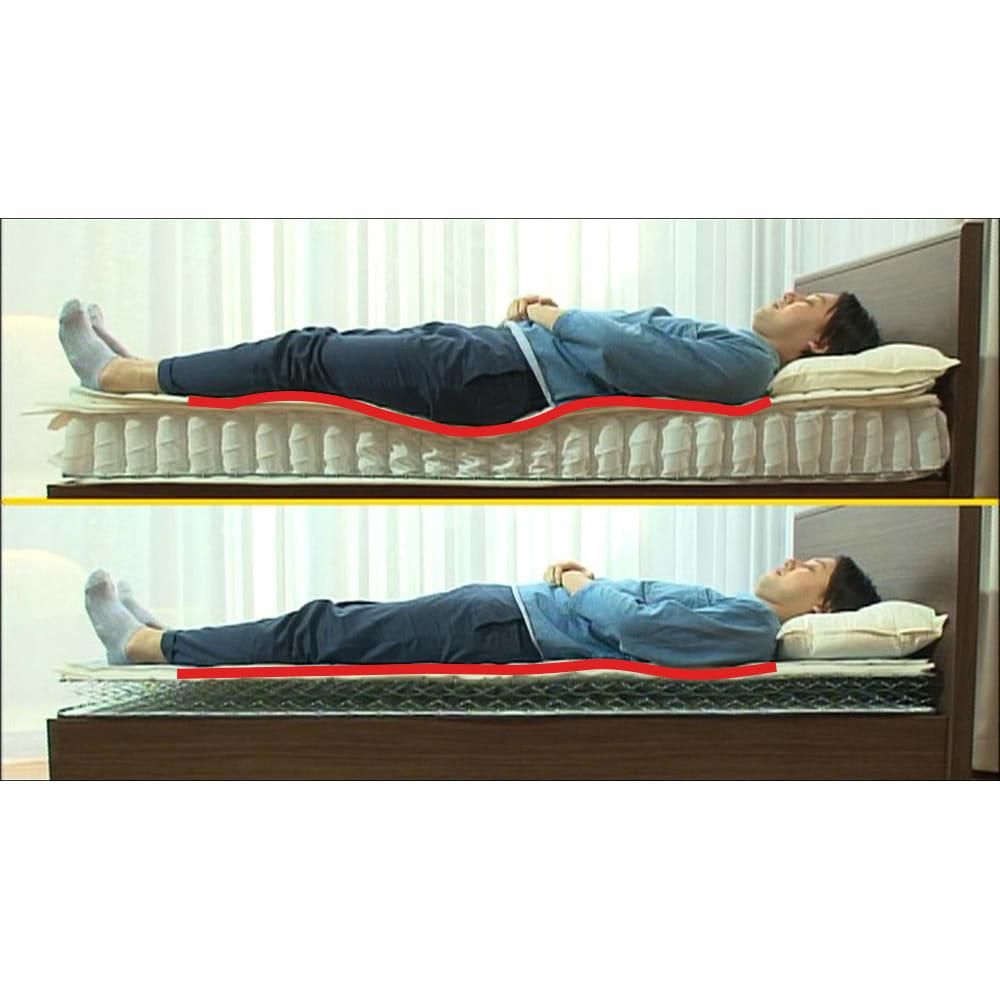 FranceBed/フランスベッド エアリーフォース(シングル) やわらかいのに腰が沈みにくく、良い寝姿勢※に勝手に導いてくれます。(※良い寝姿勢とは、立った時の真っ直ぐな姿勢を、そのまま横にした状態といわれます。※ご使用の環境や体調により、個人差があります。※実験であり効果を保証するものではありません。)