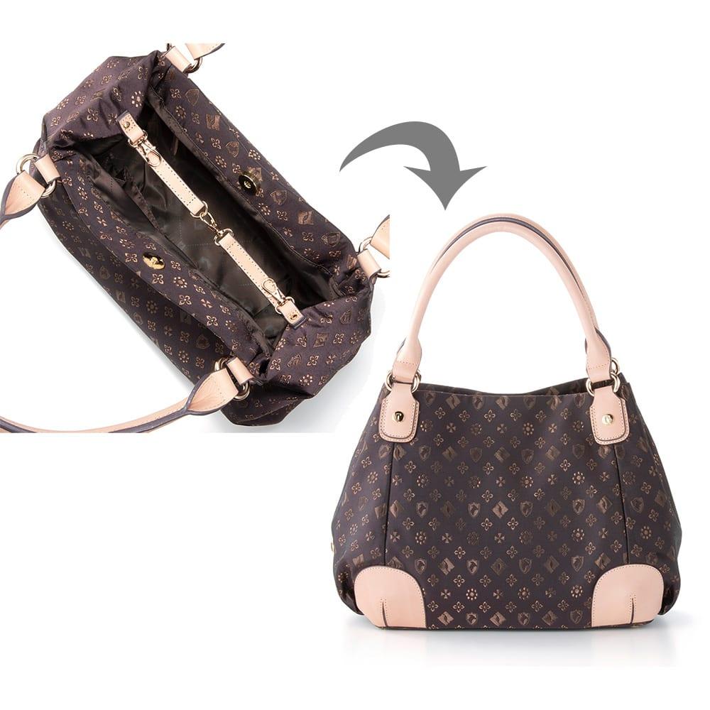 renoma/レノマ ジャカードトートバッグ 内側のフラップを止めると 小ぶりのバッグに変身