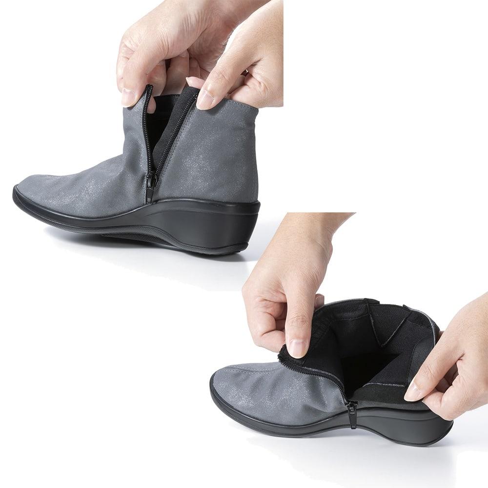 ARCOPEDICO/アルコペディコ サイドゴアショートブーツ ※グレーは販売しておりません。サイドゴアタイプはもともと脱ぎ履きがラクですが、さらにファスナー付きで楽チン!
