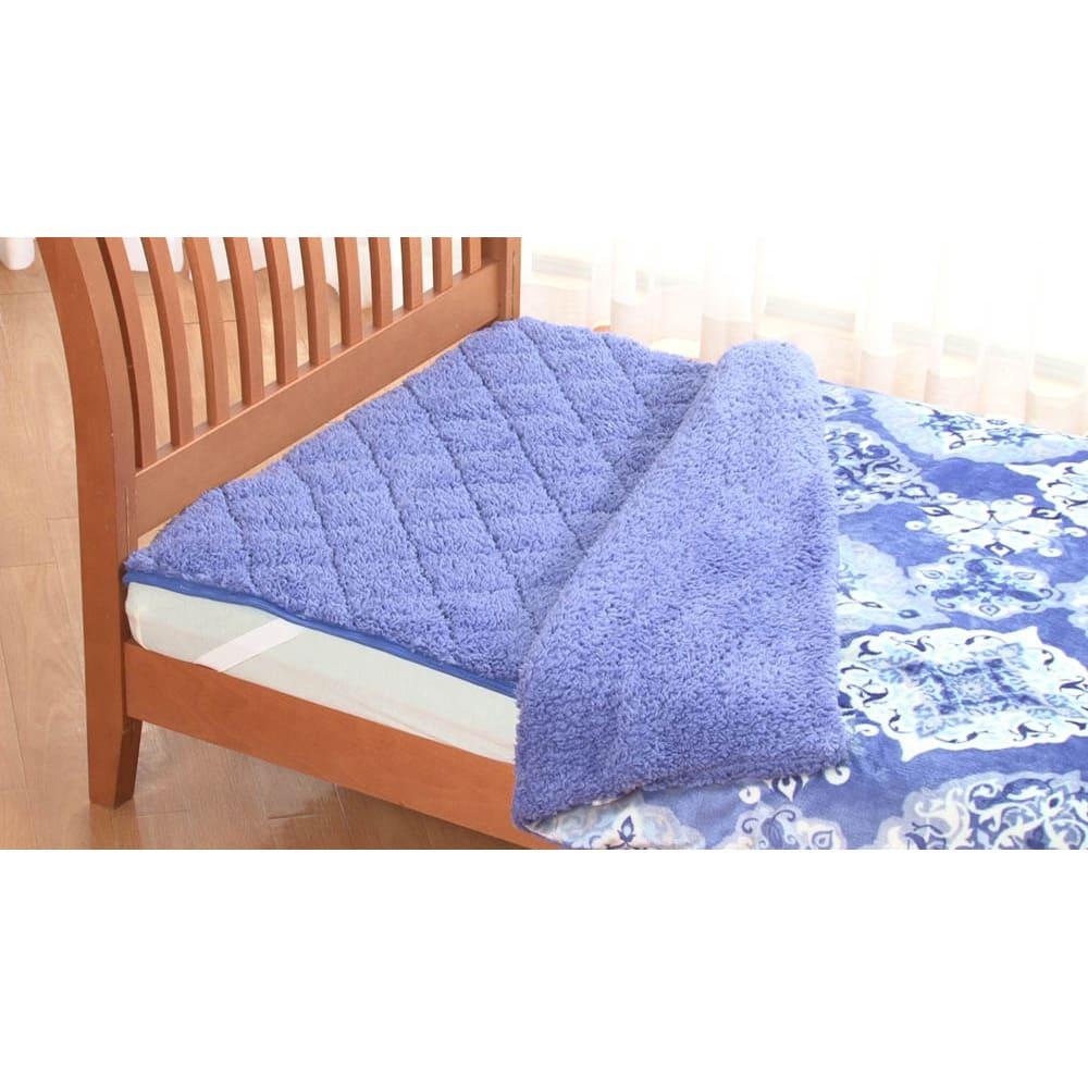 布団の老舗・西川 毛布仕立て布団カバー(セミダブル) (イ)ブルー ※敷きパッドは別売りです