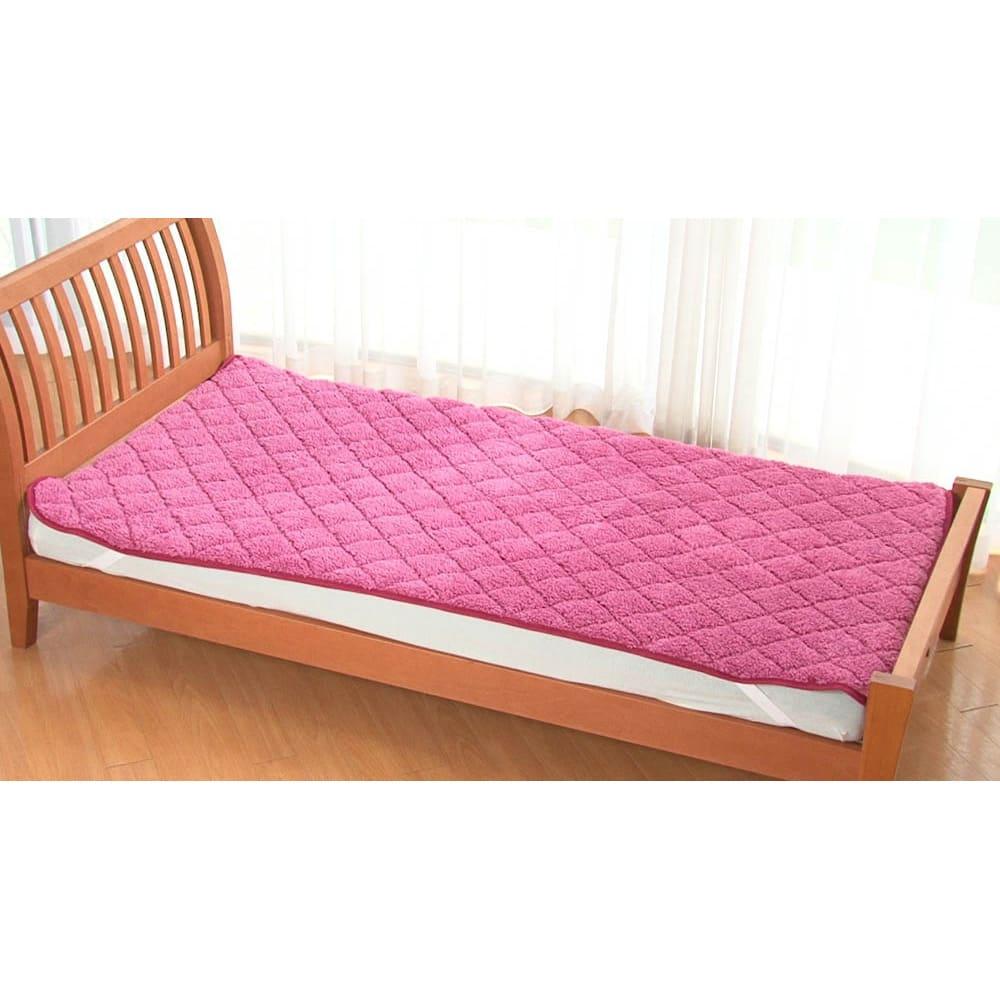 毛布仕立てのぽかぽか敷パッド(セミダブル) (ア)ピンク系