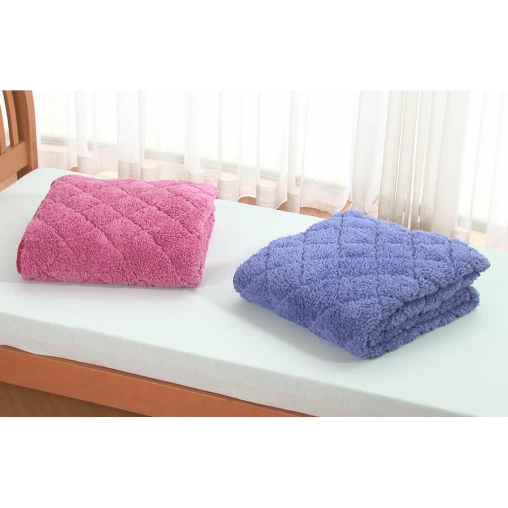毛布仕立てのぽかぽか敷パッド(ダブル) (ア)ピンク系 (イ)ブルー系