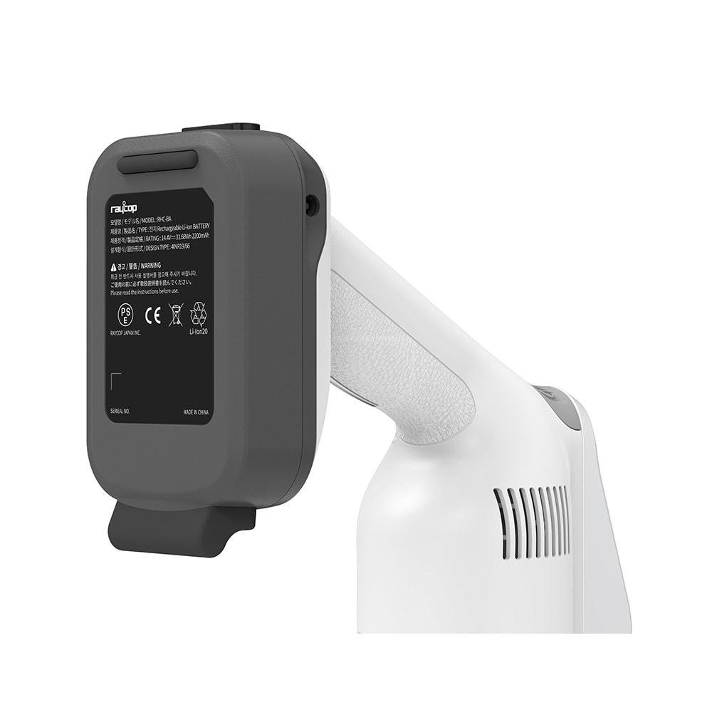 レイコップ コードレスクリーナー 通販限定モデル バッテリーの裏側にゴムクッション付き。壁やテーブルなどに立て掛けられ、掃除中のちょっと置きにも便利。
