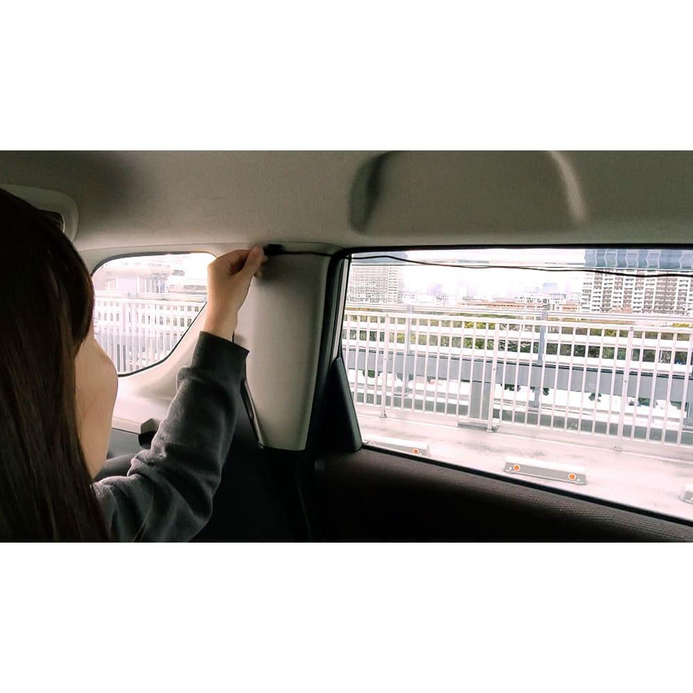 後方カメラ付きドライブレコーダー 配線ケーブルは付属の固定クランプを使い、運転の妨げにならないようにまとめてください。