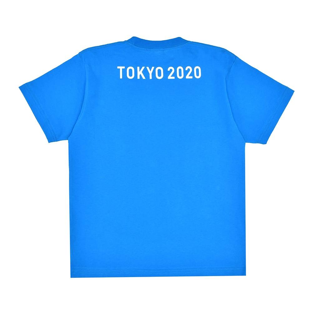 エンブレムプリント Tシャツ YO-20(東京2020 オリンピックエンブレム) (オ)ブルー BACK