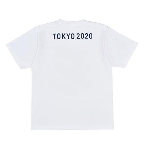 エンブレムプリント Tシャツ YO-20(東京2020 オリンピックエンブレム) (イ)ホワイト BACK