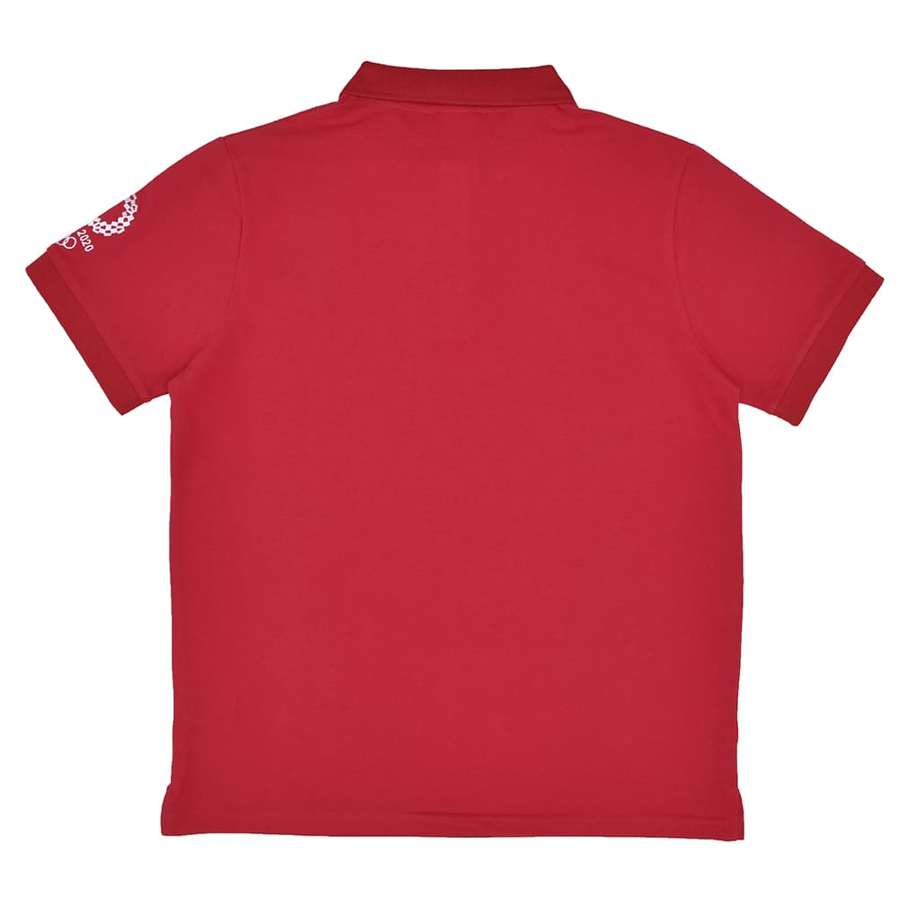 袖刺繍 ポロシャツ YO-08(東京2020 オリンピックエンブレム) (ウ)レッド BACK