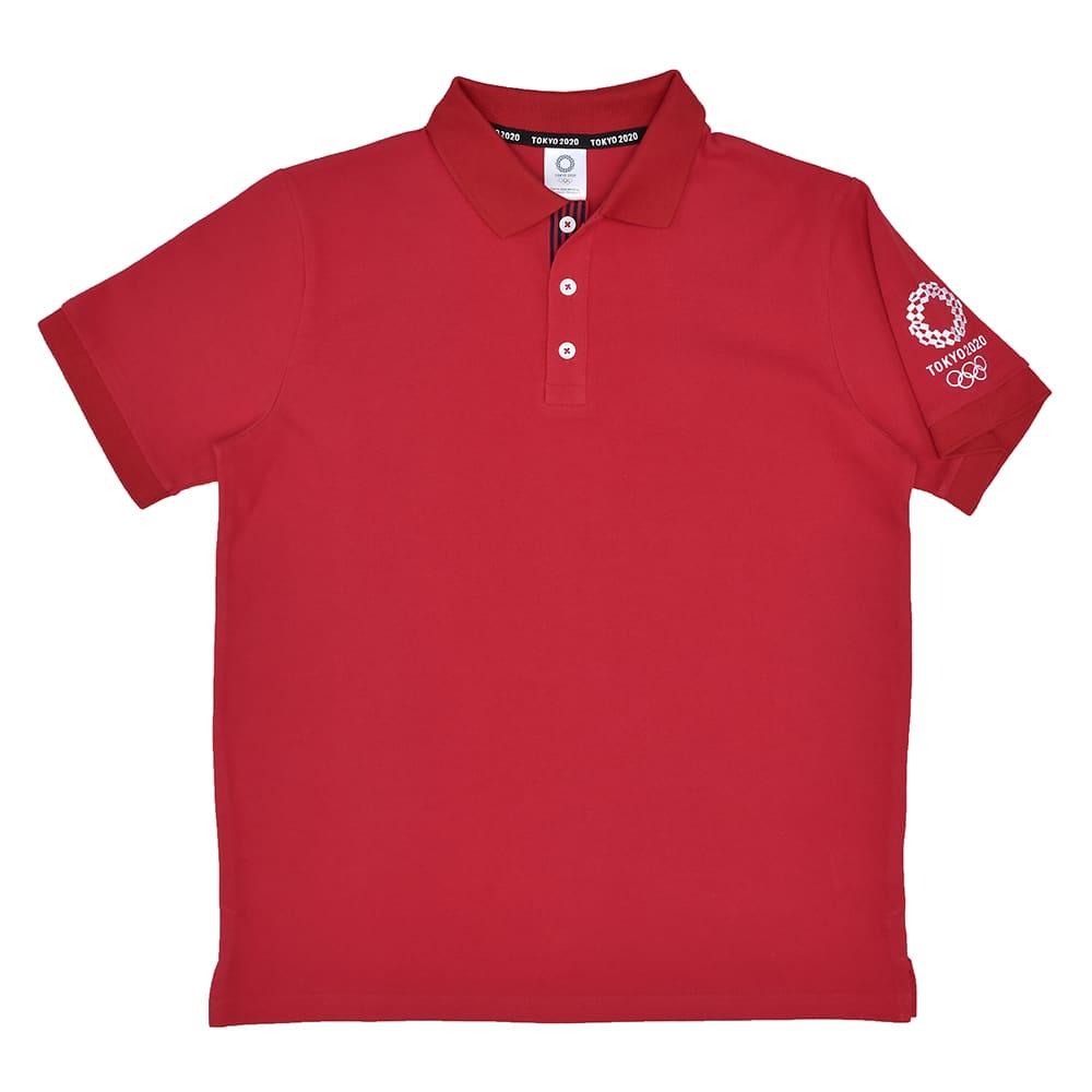 袖刺繍 ポロシャツ YO-08(東京2020 オリンピックエンブレム) (ウ)レッド